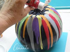 Add an easy, colorful touch to your Halloween decor with this glitter drip pumpkin. it's easy to make and you can pull it back out every Halloween! Olaf Pumpkin, Mickey Mouse Pumpkin, Creepy Pumpkin, Easy Pumpkin Carving, Disney Pumpkin, Pumpkin Carving Patterns, Pink Pumpkins, Glitter Pumpkins, Painted Pumpkins