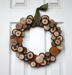 Wood Slice Wreath - Woodland - Christmas wreath - Holiday decor - Winter - Rustic on Etsy, $50.00