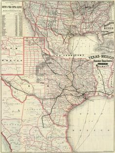 Houston and Texas Central Railway - Texas and Mexico, Houston and Texas Central Railways, 1885 - Fine Art Print