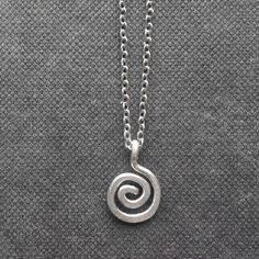 Tiny Spiral Necklace Silver Charm Necklace by FioreJewellery Silver Charms, Silver Necklaces, Minimalist Necklace, Simple Necklace, A 17, Spiral, Celtic, Washer Necklace, Charmed