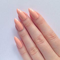 Pastel Peach Stiletto nails Nail designs by prettylittlepolish, £10.99