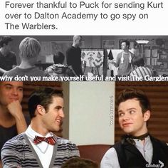 Thanks puck so much. You're part of the reason Klaine met!!!