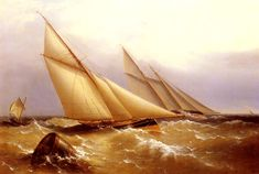 A Schooner And Cutter Yacht Painting Painted originally by Captain Richard Brydges Beechey