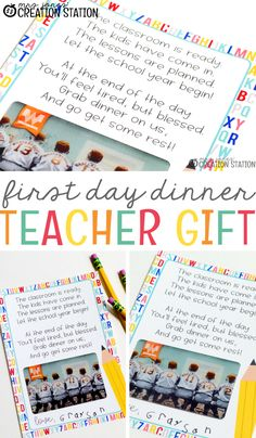 Student Gifts Discover Dinner on Us: A Back to School Teacher Gift - Mrs. Jones Creation Station Dinner on Us: A Back to School Teacher Gift - Mrs. Back To School Gifts For Teachers, 1st Day Of School, Beginning Of The School Year, High School, Teacher Treats, Teacher Cards, Student Teacher, Student Gifts, College Students