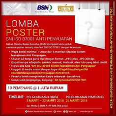 #InfoLomba #Lomba #Desain #Poster #SNI #ISO37001 #BSN #AntiPenyuapan Lomba Desain Poster SNI ISO 37001 Anti Penyuapan 2018 Berhadiah Total 10 Juta Rupiah  DEADLINE: 22 Maret 2018  http://infosayembara.com/info-lomba.php?judul=lomba-desain-poster-sni-iso-37001-anti-penyuapan-2018-berhadiah-total-10-juta-rupiah