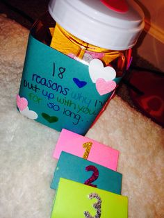 Cute gifts for boyfriend 18 reasons why I've put up with you so long. Something I did for my bf on his eighteenth