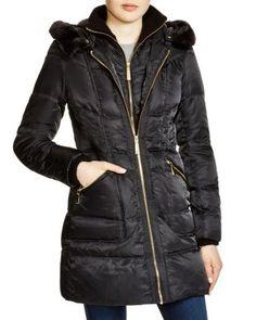 Vince Camuto Faux Fur Trim Hooded Puffer Coat | Bloomingdale's