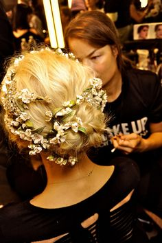 Flowers, gemstones & braids: hair at Dolce & Gabbana S/S 2014