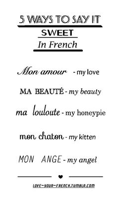 "French expressions with the word ""heart"" French Expressions, The Words, Sweet In French, My Love In French, Pretty French Words, Romantic French Phrases, French Kiss, Phrases In French, Angel In French"