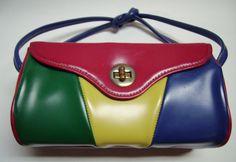 60s Multicolor Boxshape Handbag Purse Colorblock by Vintageables