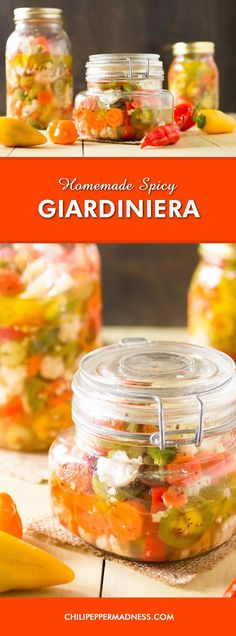 Homemade Spicy Giardiniera - Make your own giardiniera at home with this extra spicy recipe. I used a variety of peppers, including jalapenos, 7-pots, ghost peppers, jaloros, habaneros and Italian sweets, plus so much more.