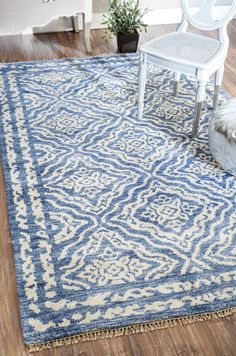 $5 Off when you share! Satara FG79 Silk Blue Rug | Contemporary Rugs #RugsUSA
