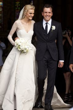 Pin for Later: Married to Fashion: 14 Wedding Looks From Our Favorite Style Stars Caroline Trentini Wearing Olivier Theyskens in March 2012 Wedding Looks, Perfect Wedding, Dream Wedding, Wedding Day, Wedding Attire, Wedding Photos, Groom And Groomsmen, Celebrity Wedding Gowns, Caroline Trentini
