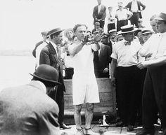 Houdini prepares to do the Overboard box escape circa 1912