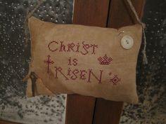Primitive Cross Stitch Easter Redwork Sampler Pin Keep, Mini Pillow, Christ is Risen, Redwork on Etsy, $22.00
