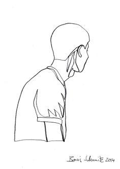 """profil perdu 31"", one-continuous-line-drawing by Boris Schmitz, 2014 Pencil Art Drawings, Love Drawings, Art Sketches, Art Fil, Continuous Line Drawing, Drawing Techniques, Minimalist Art, Face Art, Figure Drawing"