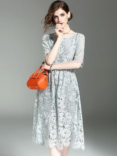 Light Blue Floral Embroidered Hollow Out Lace Dress