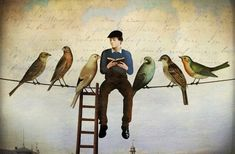 """Photo from album """"Christian Schloe"""" on Yandex. Magic Realism, Realism Art, Feeling Isolated, Time In The World, Max Ernst, Paper Birds, Writers And Poets, Male Figure, Op Art"""
