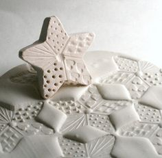 Clay Stamp Crazy Quilted Star with Dots Lines Hearts Stars Triangles Pottery Pattern or Texture Shape Tool Ceramic Texture, Clay Texture, Clay Stamps, Pottery Tools, Pottery Classes, Ceramics Projects, Clay Projects, Ceramic Clay, Ceramic Pottery