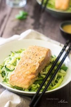 Coconut Curry Salmon with Zucchini Noodles