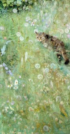 By Swedish artist Bruno Liljefors. Love the detail of the cat walking amid dandelion seed heads and clover blooms