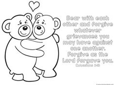 Bear Coloring Page with  Bible Verse