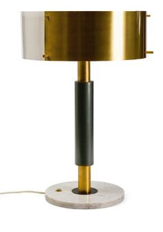 Anonymous; Brass, Perspex, Enameled Metal and Marble Table Lamp, c1960.