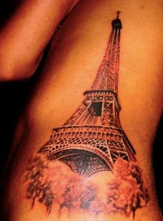 Realistic Eiffel Tower Tattoo on Ribs #eiffeltower #sidetattoo #realistictattoo