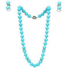 Persian Turquoise White Gold Necklace and Earring Set   From a unique collection of vintage beaded necklaces at http://www.1stdibs.com/jewelry/necklaces/beaded-necklaces/