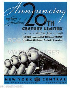 Vintage Train Poster New York Central Railroad 20th Century LTD art deco print