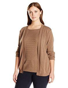 Fashion Womens Plus Size Cable Knit 2fer Cardigan Sweater www.fashionbug.us #plussize 1X 2X 3X 4X 5X 6X