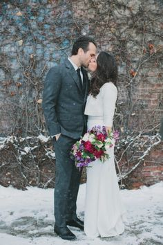 Chic NYC Winter Wedding: http://www.stylemepretty.com/new-york-weddings/new-york-city/2014/09/23/nyc-winter-wedding-at-the-foundry/ | Photography: Les Loups - http://www.lesloupspicturesandsongs.com/