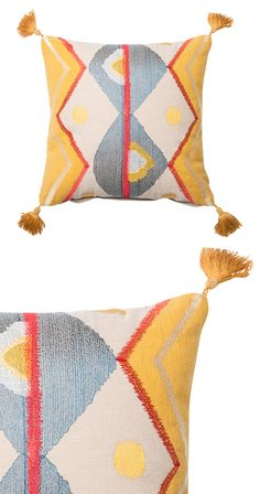 Brighten up any room with this sunny accent. Our multi-color Dandelion pillow is made with 100% cotton and features playful tassels at its four edges. Made in India. Dry clean only.  Find the Dandelion Pillow, as seen in the 3 Ways to Get That Summer Mod Collection at http://dotandbo.com/collections/3-ways-to-get-that-summer-mod?utm_source=pinterest&utm_medium=organic&db_sku=121025