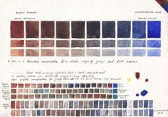 Jane Blundell: Watercolour Comparisons 4 - Burnt Sienna with Ultramarine Blue Watercolor Mixing, Watercolor Sketchbook, Watercolor Painting Techniques, Watercolor Tips, Watercolour Tutorials, Watercolor Artists, Watercolor Illustration, Watercolor Paintings, Watercolors