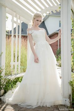 sarah houston 2015 bridal collection off the shoulder strapless a line wedding dress ariel #wedding #dress #bride