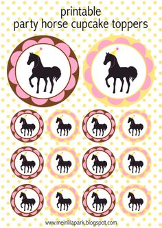 FREE printable party horse cupcake toppers
