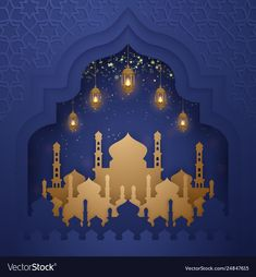 Ramadan kareem background with hanging lanterns Vector Image Islamic Posters, Islamic Art, Arabian Nights Prom, Aladdin Party, 3d Paper Art, Free To Use Images, Hanging Lanterns, Kirigami, Wallpaper