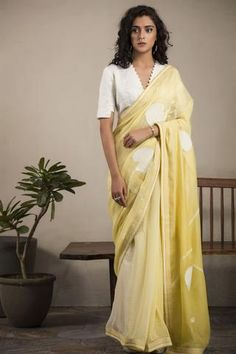 Yellow & Ivory Saree Set is part of Yp Com The Real Yellow Pages - Fabric Material Chanderi Material Composition Silk (Saree); Cotton (Blouse) Care Dry Clean Only Saree Blouse Neck Designs, White Blouse Designs, Indian Blouse Designs, Lehenga Designs, Stylish Blouse Design, Saree Trends, Stylish Sarees, Stylish Gown, Saree Look