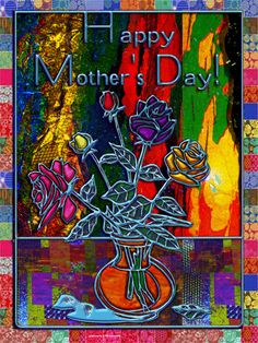 'Happy Mothers Day Floral Abstract' by Blake Robson on artflakes.com as poster or art print $14.38