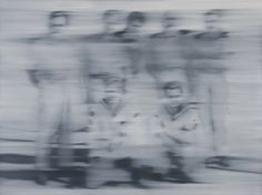 """Gerhard Richter, """"Sailors""""1966 Oil on canvas.  Richter wrote, """"I blur things to make everything equally important and equally unimportant."""""""
