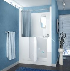 Meditub Walk-In 27 x 47 Right Drain White Soaking Walk-In Bathtub - Walk-In's provide a safe and independent bathing experience. Using the latest in tub crafting techniques and industrial grade materials Walk-In Tubs offer an impressive line to m Walk In Tub Shower, Bathtub Shower Combo, Walk In Tubs, Bathroom Tub Shower, Walk In Bathtub, Bathtub Drain, Soaking Bathtubs, Bath Tubs, Bathroom Ideas