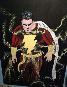 This is a painting a client hired me to do for his friends birthday present. It's Captain Mar-vel later known as Shazam!