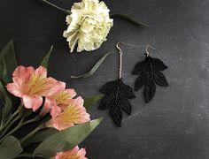 long dangle earrings - BOTANICA - by White Owl  #black #leaf #earrings - asymmetrical  earrings - #modern earrings - #boho #wedding earrings #handmade #lace