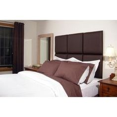 Custom made Faux Suede Square Wall Panel  Headboard, love except a different color would be better