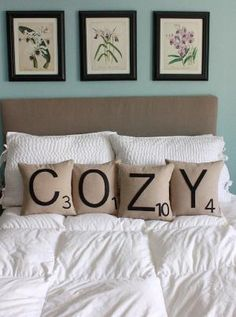 scrabble pillows would distract me because I would want to make words all the time.  I also need the botanicals on the wall behind it kthnx