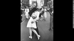 Alfred Eisenstaedt's photograph of an American sailor kissing a woman in Times Square became a symbol of the excitement and joy at the end of World War II.