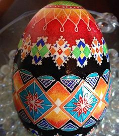 Lovely pysanka by Barbara Bone. Please note her shading.Barb has attended Mark Malachowski's shading class at the PysankyUSA Retreat.