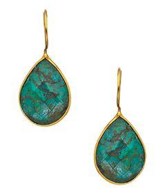 Seraphina Turquoise and Gold Vermeil Teardrop Earrings #maxandchloe