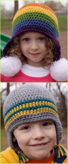 Crochet Rainbow Hat Free Pattern - Crochet Ear Flap Hat Free Patterns