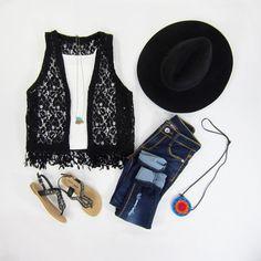 Black Lace Vest with Fringes